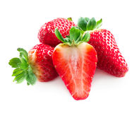 Strawberries over White Royalty Free Stock Photos