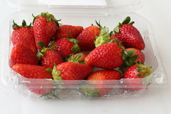 Strawberries Pack. Closeup View of a Pack of Strawberries On Sale Royalty Free Stock Photography