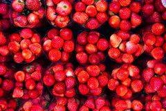 Strawberries in package selling at night market. Top view royalty free stock photos