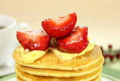 Strawberries On Pancakes Royalty Free Stock Photos