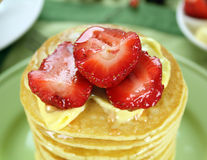 Strawberries On Pancakes Royalty Free Stock Photo