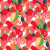 Strawberries and parrots on abstract background. Vector seamless pattern. Strawberries and parrots on abstract background. Vector seamless pattern stock illustration