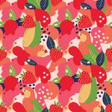 Strawberries and parrots on abstract background. Vector seamless pattern. Strawberries and parrots on abstract background. Vector seamless pattern vector illustration