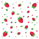 Strawberries pattern. Red fruits on white background, . Vector illustration Stock Photo