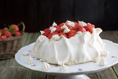 Strawberries Pavlova Cake with Whipped Cream on a White Plate Royalty Free Stock Photography