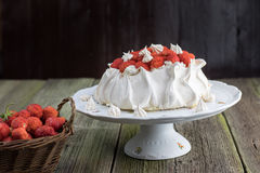 Strawberries Pavlova Cake on a White Plate with Strawberries in Royalty Free Stock Photos