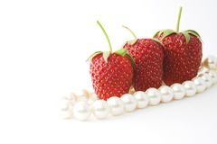 The Strawberries and pearl. Royalty Free Stock Photos