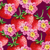 Strawberries and Peony seamless hand drawn pattern Stock Photos