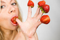 Strawberries picked on fingertips Stock Photos