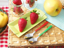 Strawberries at picnic Royalty Free Stock Photography