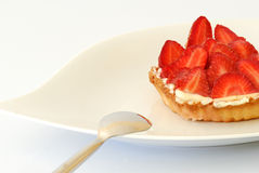 Strawberries pie. A very good strawberry pie on the white background Royalty Free Stock Photo