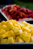 Strawberries and Pineapple. An appetizer plate of strawberries and pineapple Royalty Free Stock Images