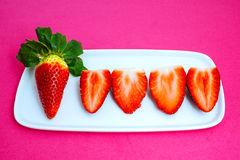 Strawberries on pink background Stock Photo