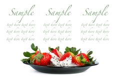 Strawberries and Pitahaya Royalty Free Stock Image