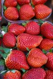Strawberries in plastic baskets at the market with a soft focus field royalty free stock images