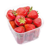 Strawberries in Plastic Box Stock Photography