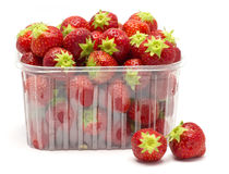 Strawberries in a plastic box Royalty Free Stock Photos