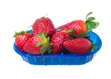 Strawberries in plastic box isolated Royalty Free Stock Photography