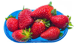Strawberries in plastic box isolated Royalty Free Stock Photo