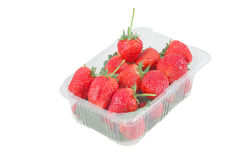 Strawberries in plastic box isolated on white background Royalty Free Stock Photography