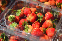 Strawberries in a plastic package Royalty Free Stock Photo