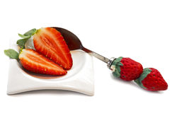 Strawberries plate Royalty Free Stock Photos