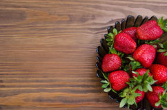 Strawberries in plate. background for inscription Stock Image