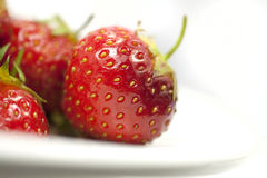 Strawberries on a plate_closeup. Closeup on fresh organic English strawberries on a plate on white background Royalty Free Stock Image