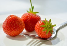 Strawberries on plate with fork Royalty Free Stock Photos