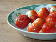 Strawberries in plate Royalty Free Stock Photos