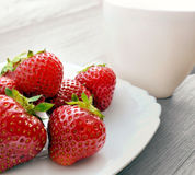 Strawberries on plate Stock Photo