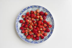 Strawberries in the plate, top view,  on white background Royalty Free Stock Photo