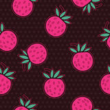Strawberries and polka dot seamless vector pattern Royalty Free Stock Images