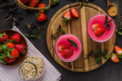 Strawberries puddink photo Royalty Free Stock Images