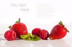 Strawberries and raspberries Stock Photo