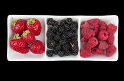 Strawberries, raspberries and blackberries Stock Photos