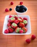 Strawberries, raspberries, blackberries Royalty Free Stock Photo
