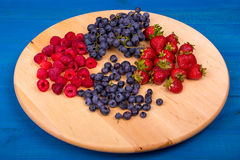 Strawberries, raspberries,  blueberries and grapes on wooden plate. Strawberries, raspberries,  blueberries and grapes Royalty Free Stock Image