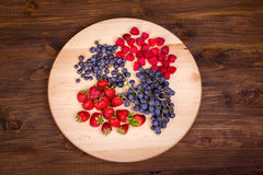 Strawberries, raspberries,  blueberries and grapes on wooden plate Royalty Free Stock Photo