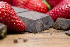 Strawberries raw chocolate on whooden table Stock Photo