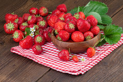 Strawberries on Red Checkered Napkin Royalty Free Stock Photo