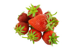 Strawberries. Red strawberry pile with white background Royalty Free Stock Photography