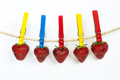 Strawberries on the rope. Some red bright berries on the rope with clothespins Royalty Free Stock Image