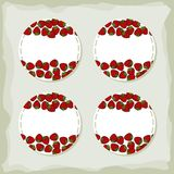 Strawberries round sticker set Stock Images