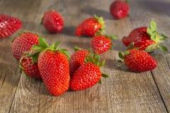 Strawberries, rustic wood Stock Photo