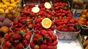 Strawberries for sale in farmers market Stock Photo
