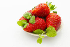 Strawberries on saucer Royalty Free Stock Photo