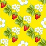 Strawberries seamless hand drawn vector pattern Stock Photo