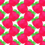 Strawberries. Seamless pattern with berries. Hand-drawn background. Vector illustration. Stock Image