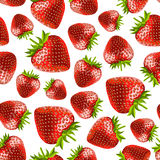 Strawberries seamless pattern. Vector illustration of strawberries on a white background Stock Photos